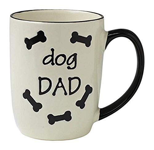 PetRageous 13069 Dog Dad Stoneware Mug 4-Inch Diameter and 5-Inch Tall Mug with 24-Ounce Capacity and Dishwasher and Microwave Safe, Natural, Off-White