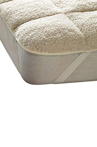 rejuvopedic Sherpa Teddy Bear Fleecy Mattress Topper Protector Under Blanket Winter Warm (King)