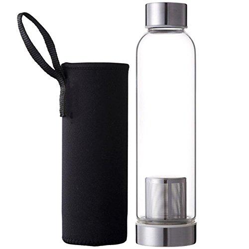 Drawihi 550ml Glas Tee-Flasche mit Filter Wasserflasche Glasflasche Trinkflasche Teebereiter Isolierung Trinkbecher mit Nylon Tasche (Schwarz) 24 * 4 * 6.2 cm
