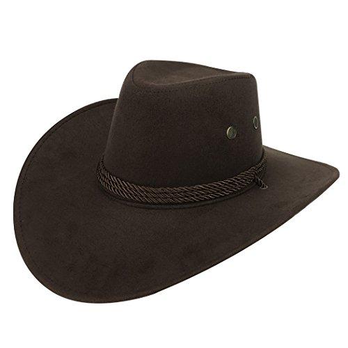 Fascigirl Sombrero de Vaquero, Sombrero de ala Ancha Sombrero de Traje de Vaquero Occidental de Gamuza Artificial para Hombres