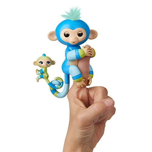 WowWee Fingerlings Baby Monkey & Mini BFFs - Billie & Aiden (Blue-Green) 3541