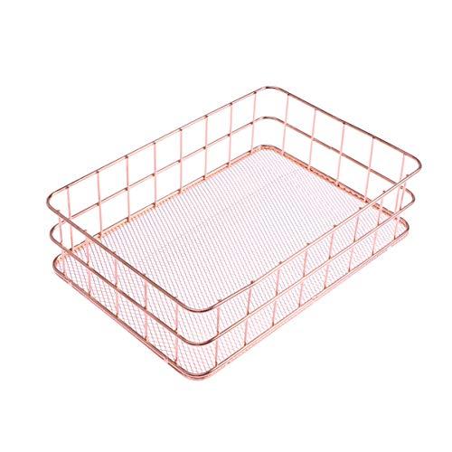 OUNONA Organizer Metal Wire Mesh Basket Rack for Desktop Clothing Storage/Fruit Snacks Tray/Kitchen Tool Holders (Rose Gold)