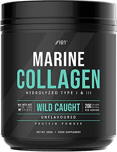 Wild-Caught Marine Collagen Powder - 200g - Unflavoured, Types I & III Collagen Peptides - Hydrolysed Deep Ocean Canadian Collagen. Non GMO, Gluten Free, Kosher, Halal.