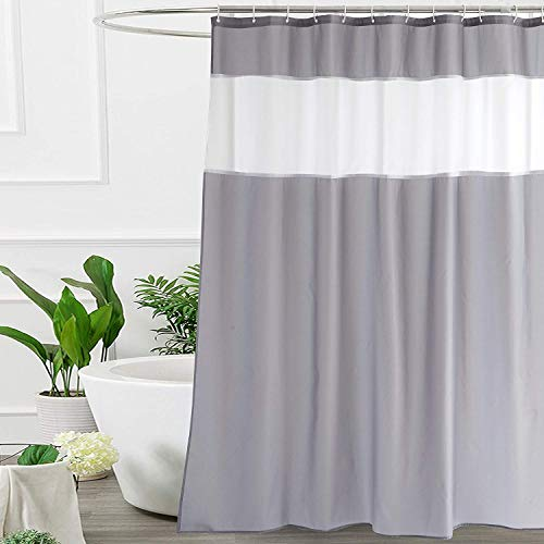 UFRIDAY White and Gray Shower Curtain 72-Inch by 78-Inch,...