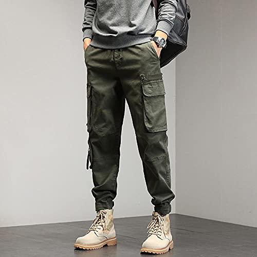 Pantalones de Estilo de Punk Harajuku Pantalones de Carga de Color Puro 9 Parte de Tobillo Longitud con cordón Pantalones de algodón Pantalones de otoño Pantalones Pantalones Slim-Artería_4XL
