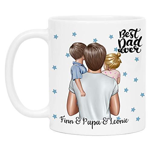 Kiddle-Design Vater Kind Tasse Personalisiert Name und Frisur Papa Kinder Tochter Sohn Baby Geschenk Kaffeetasse für Väter Vatertag Geschenk