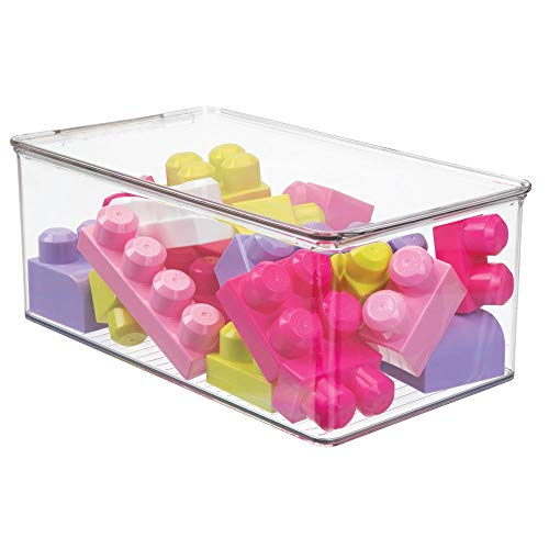 mDesign Playroom Stackable Plastic Storage Box with Lid - for Organizing Baby/Child's/Kids Toys, Action Figures, Crayons, Markers, Blocks, Puzzles, Crafts, Crayons, Dog/Cat Toy Box - Clear
