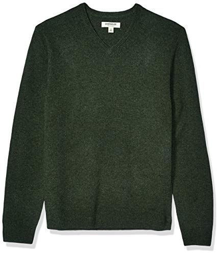 Amazon Brand - Goodthreads Men's Lambswool V-Neck Sweater, Hunter Green Large