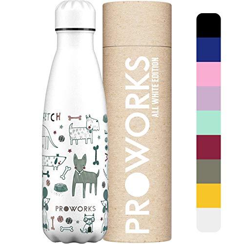 Proworks Botella de Agua Deportiva de Acero Inoxidable   Cantimplora Termo con Doble Aislamiento para 12 Horas de Bebida Caliente y 24 Horas de Bebida Fría - Libre BPA - 350ml / 500ml / 750ml