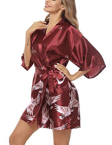 Hawiton camisón Mujer Seda, Sexy Cuello en v Lencería Mangas Corta con cordón y patrón de pájaro, Elegante Tirantes Pijama Saten con Bolsillos Novia Vestidos, Babydoll