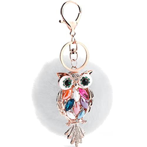 8cm Cm Rex conejo piel bola búho llavero accesorios de felpa bolsa colgante joyería regalo, Frost Black,