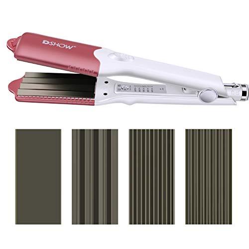 DSHOW 4 en 1 - Plancha de pelo con 4 placas intercambiables de cerámica de titanio para engarzar el...