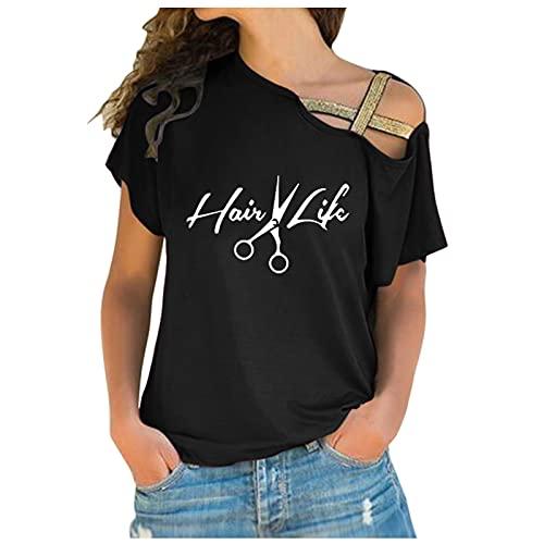 URIBAKY - Maglia da donna con stampa casual e spalle scoperte, in cotone, a maniche lunghe, con stampa Streetwear, C-nero., L