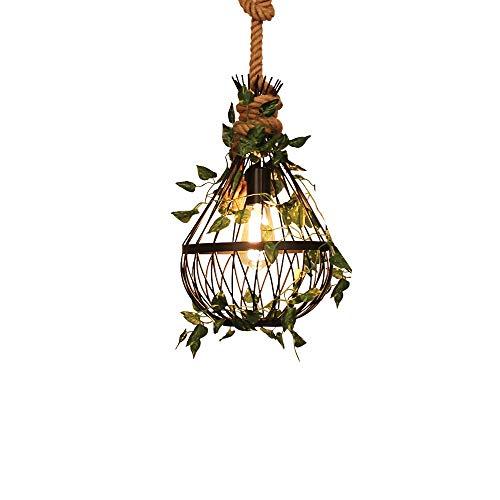 Chandelier de granja Retro cuerda industrial araña personalidad metal pájaro jaula forjado hierro colgante luz creativo restaurante café barbacoa tienda nueces planta techo colgante lámpara Arañas mod