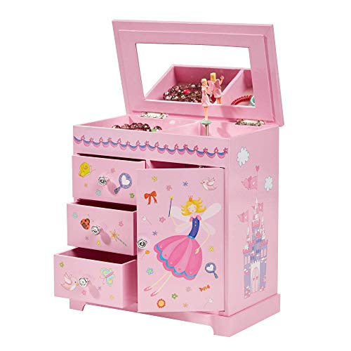 Krista Ballerina Music Jewelry Box for Girls, Necklace and Earring Organizer