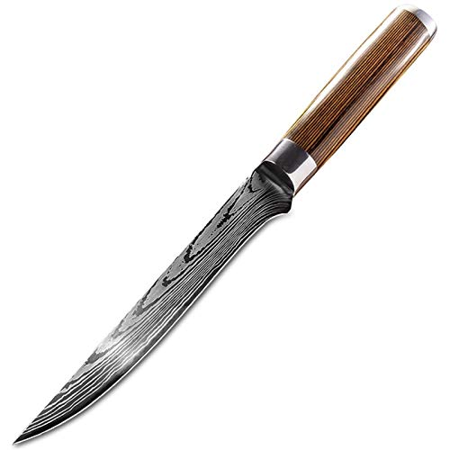 Cuchillo del cocinero 5,5 pulgadas de acero inoxidable mango curvo que deshuesa el cuchillo filete Cuchillo Con Madera Profesional cocinero y cuchillo de carnicero utensilios de cocina