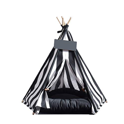LVMEIHUA Small And Medium Pet Teepee For Cats Dogs Rabbits- Indoor Or Outdoor Portable Pet Tents & House With Floor/Black and white stripes (Size : 60X50X50CM)