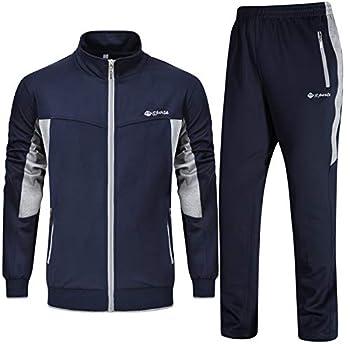 Rdruko Men s Sports Tracksuit Long Sleeve Full Zip Running Gym Set Activewear Blue Grey,US M