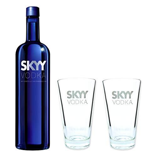Skyy Vodka 40% 0,7l - Set mit 2 original Longdrink Gläsern 2cl/4cl