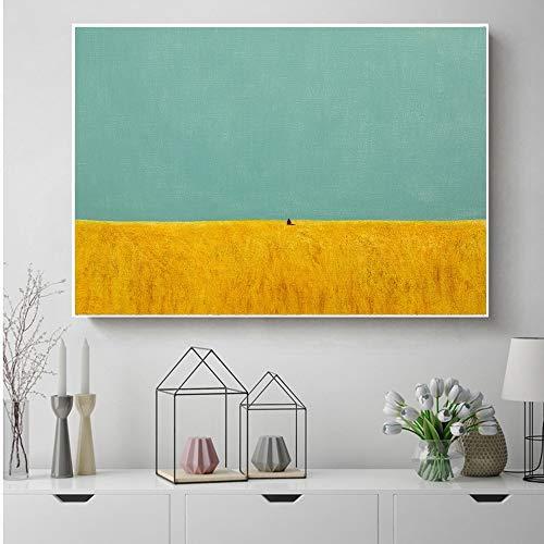 hetingyue Nordische abstrakte geometrische Bergmenschen Landschaftsmalerei Wandkunst Leinwand Malerei Plakatdruck Bild Wohnzimmer Wand rahmenlose Malerei 60x80cm