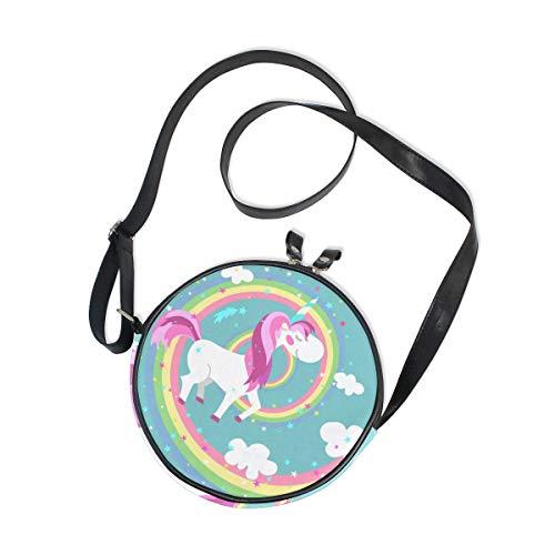 Runde Tasche, niedliches Einhorn, Pony, bunte Regenbogen-Spirale, Segeltuch, Kreis, für Damen/Mädchen
