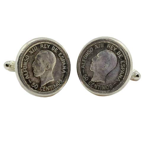 Gemelos para camisa: Genumis Alfonso XIII - Moneda 50c peseta 1926 Pla