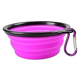 SWIDUUK Dog Cat Pet Travel Food Feeding Bowl Water Dish Portable Silicone Bowl