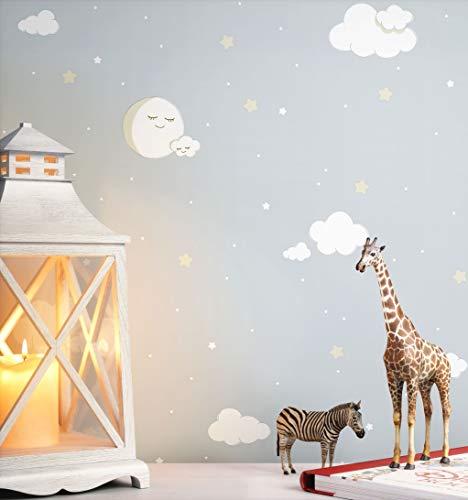 NEWROOM Kindertapete grau Wolken Mond Kinder Papiertapete weiß Papier Kindertapete Kinderzimmer Babytapete Babyzimmer
