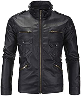 Fashion men's leather jacket British stand collar leather black XXL