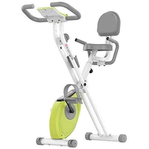 EWQ Bicicleta estática plegable para el hogar, con diseño de respaldo, control magnético silencioso, ajuste de resistencia a 8 velocidades, bicicleta de fitness y entrenamiento de abdominales