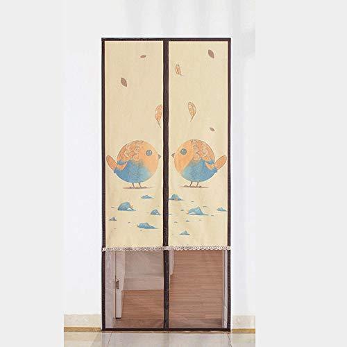 Brown Bird Pattern Insektenschutztür Klemmzarge 80x200cm / 31x78inches Fliegengitter Balkontür Rollo Halten Sie Insekten Von Der Mückentür Fern Und Versiegeln Sie Sie Automatisch Von Oben Nach Unten,