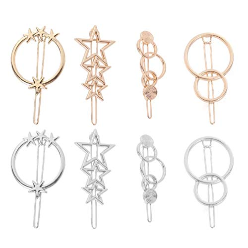 8pcs Geometric Hair Clips Hollow out Hairpin Hair Clamps Multiple Pattern for Women Girls