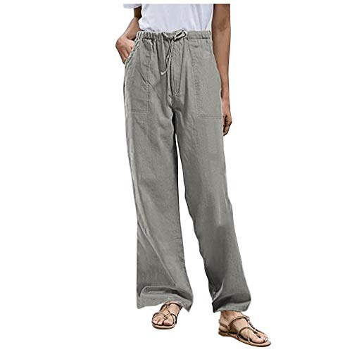 Gahrchian Plus Size Drawstring Cotton Linen Trousers for Women, Solid Pocket Casual Relaxed-Fit Pants(Gray,4X)
