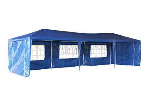 KMS FoxHunter Waterproof 3m x 9m PE Gazebo Marquee Awning Party Tent Canopy Blue 120g Polyester Power Coated Steel Frame With 3 Support Beam