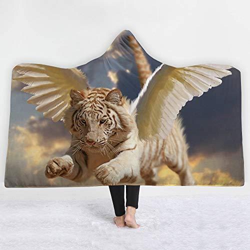 YJZ Couverture à Capuchon 3D imprimé Manteau série Tiger Double Couche Chaude Peluche Couverture TV Sherpa Femmes et Fille, Cadeau Chaleureux ami de la Famille, Personnalisable,S,51\
