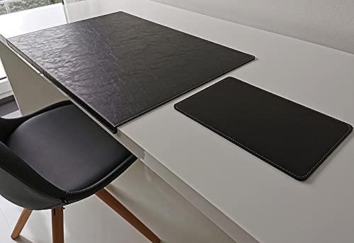 Protector de escritorio en ángulo con protector de canatas y alfombrilla para ratón en piel Lora 60 x 38 cm, color negro