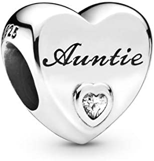Auntie Love Heart 925 Sterling Silver Charm - 798261CZ
