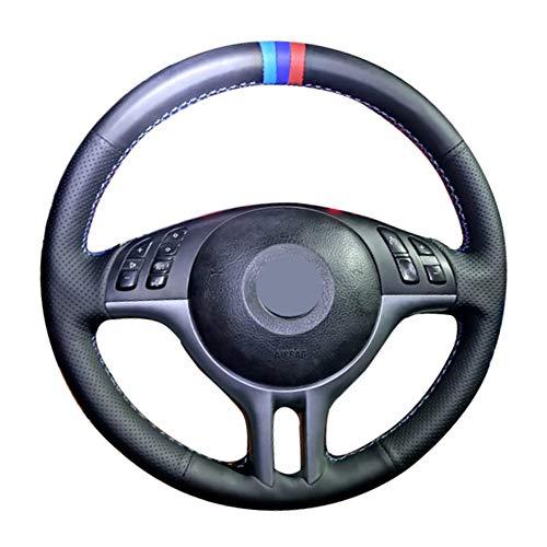 HZHAOWEI Handgenähtes schwarzes weiches Kunstleder 3 Farbstreifen Auto-Lenkradbezüge, für BMW E39 E46 325i E53 X5 X3