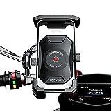 Soporte movil Moto Scooter sujecion al Espejo retrovisor y 4 Brazos en Aluminio Compatible con telefonos moviles de hasta 7.5' Proteccion Total para Smartphone Soporte móvil Moto