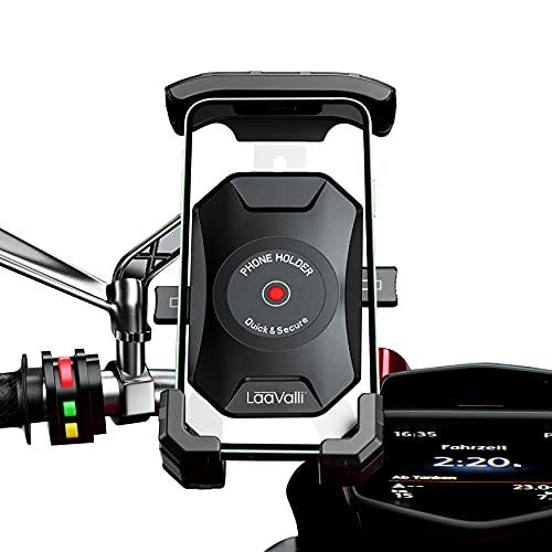 """Soporte movil Moto Scooter sujecion al Espejo retrovisor y 4 Brazos en Aluminio Compatible con telefonos moviles de hasta 7.5"""" Proteccion Total para Smartphone Soporte móvil Moto"""