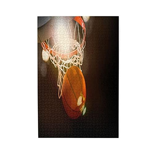 YOLIKA Rompecabezas de Imágenes 1000 Piezas,Baloncesto atravesando la Canasta en un Estadio Deportivo,Regalo Ideal Gracioso Juego Familiar Decoración para el Hogar Colgante,19.7' x 29.5'