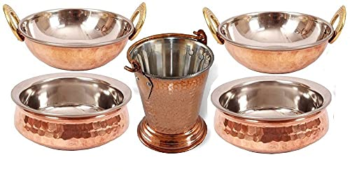 Billion Deals-Indian Copper Serveware 2 Handi Bowl, 2 Kadai, 1 Balti/Bucket Vegetable Dinner Bowl for Indian Food, Gift, Good For Health, with Metal cleaning Powder