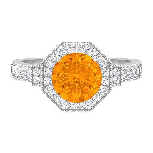Anillo de boda hexágono antiguo, 2,7 ct D-VSSI moissanite, anillo solitario relleno de vidrio rubí de 8 mm, colección de joyas de piedra lateral nupcial, 14K White Gold, Glass Filled Ruby, Size:US 70