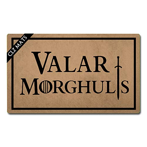 CLZ mats Welcome Mat Valar Morghulis Game of Thrones Doormats Personalized Funny Welcome Mat for Entrance Way Non Slip Rubber Rugs for Front Door Kitchen Rugs and Mats 30'(L) x 18'(W)