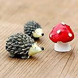 Rtengtunn Miniatur Harz Igel Pilz Set DIY Micro Garten Pflanze Blumentopf Bonsai Puppenhaus Desktop...