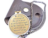 RIRHTAJUS Be Strong and Courageous Engraved Compass, Best Easter, Birthday Gifts, Graduation Gifts, Wedding Gifts, Joshua 1:9