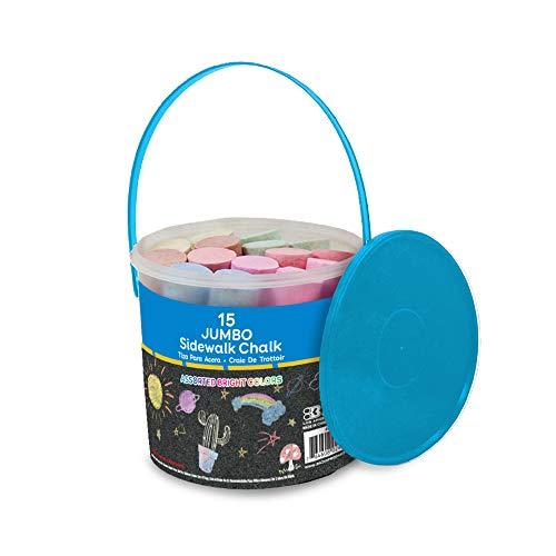 BAZIC Jumbo Color Sidewalk Chalk (15/Bucket), Assorted Colors Chalks, Outdoor Fun Activity Playground Art Painting Coloring for Kid Gift Chalkboard Blackboard, Easy Carry Storage Bucket, 1-Bucket