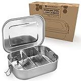 Edelstahl Brotdose | Auslaufsichere Bento-Box für Erwachsene und Kinder | Lunch-Box aus Metall mit entfernbaren Trennwänden | Umweltfreundlich und BPA-frei | Brotzeit-Dose mit Deckel | 1400 ML
