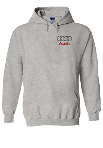 PatPat Store Audi Logo S R8 Line Pocket Print Novelty Grey Men Women Unisex Hooded Sweatshirt Hoodie-M