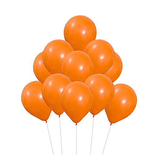 VAIOUS 100 Globos de Látex Elástico,25 cm,8 Pulgadas,Color Liso-Naranja